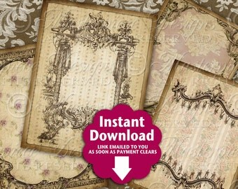Antique Wallpaper Ornate / Jewelry Tags / Frames / Hang Tags / Earring Cards - Printable Tags, Instant Download and Print Digital Sheet