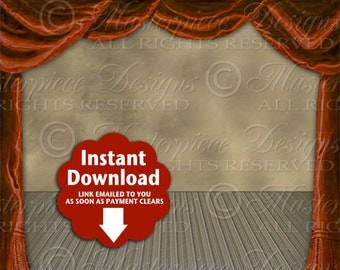 Theater Stage Empty Design One / Theatre / Red Curtains Drapes Drama Acting - Printable INSTANT DOWNLOAD 8x10 Ready To Print Digital JPG