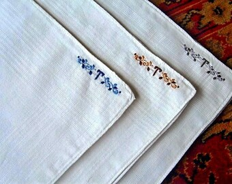 Handkerchief HANKIE Set 3 Vintage But NEW Embroidery MONOGRAM T White Linen Monogrammed