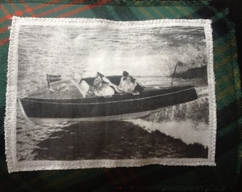 Handmade Vintage Wooden Boat Pillow made using vintage wool scarf and blanket.