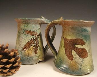 Green Leaf stoneware  coffee mugs tea mugs 10 to 12 ounce wheelthrown christmas gift