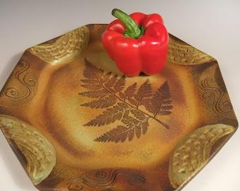 "Ceramic Dinner Plate Stoneware in Leaf ""Change of Seasons"" Pattern plus Wind & Rain"