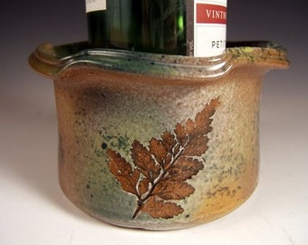 Wine Coaster Dip Bowl Candle Holder with Fern Hemlock and White Pine Impressions