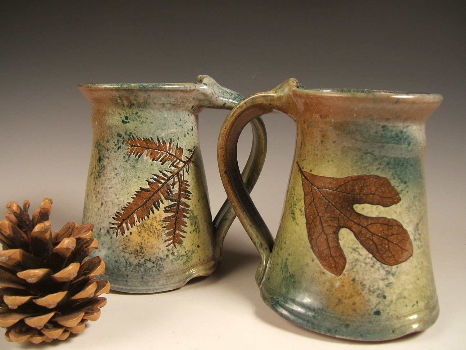 Green Leaf Stoneware Coffee Mugs Tea Mugs 10 To 12 Ounce