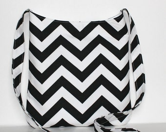 Simple Black White Chevron Crossbody bag