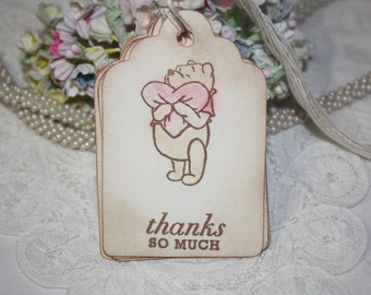 Baby Shower Thank You Tags - Classic Pooh with Pink Heart - Baby Girl - Ivory - Favor Tags