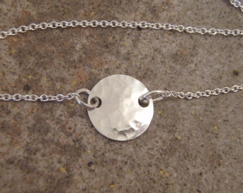 Hammered silver disc necklace - Sterling silver disc necklace - Dainty Choker necklace - Photo NOT actual size