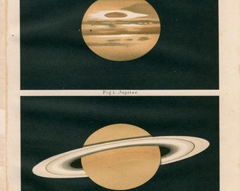 "Antique Print Outer Space ""Jupiter and Saturn"" Vintage Natural History Stars Print - Planets Illustration"