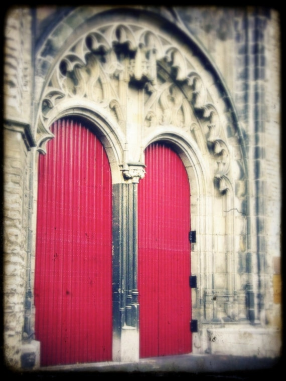 "Red Door European Castle Photo ""Behind Red Doors"" Fairy Tale Fine Art Photograph - Castle Architectural Photo - Europe Travel - Gothic Door"