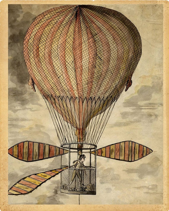 Vintage christmas postcard old fashioned christmas - Hot Air Balloon Quot Strange Invention Quot Steampunk Victorian Antique Print