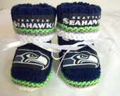 Custom handmade knit NFL Seattle SEAHAWKS Inspired baby booties 0-12M- Team Colors cute gift photos