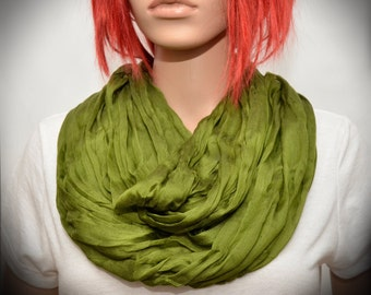 Olive Green Silk scarf - Infinity scarf