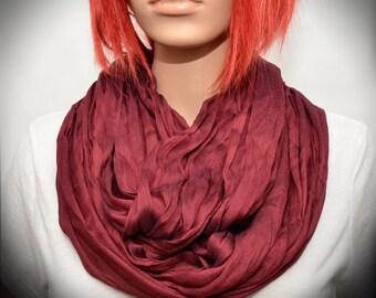 Bordo Burgundy Red Silk scarf - Infinity scarf