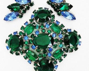 Sapphire Blue and Emerald Green Demi Parure