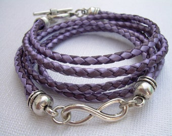 Leather Bracelet, Infinity Bracelet, Metallic Purple and Lavander, Braided,Triple Wrap, Womens Bracelet, Womens Gift, Womens Jewelry