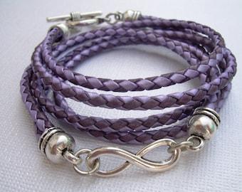Triple Wrap Leather Infinity Bracelet, Purple and Lavander Infinity Bracelet, Leather Bracelet, Womens Bracelet, Bridesmaid Gift, Womens