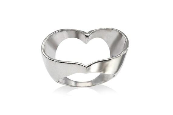 Silver Heart Ring, Sterling Silver Open Heart  Ring, Heart Ring, Bridal Jewelry, Heart Ring