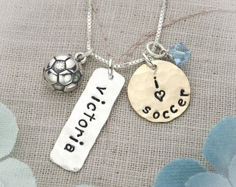 Soccer Necklace, Field Hockey Necklace, Lacrosse Necklace, Softball Necklace in Sterling Silver and Brass Perfect for Team Gifts