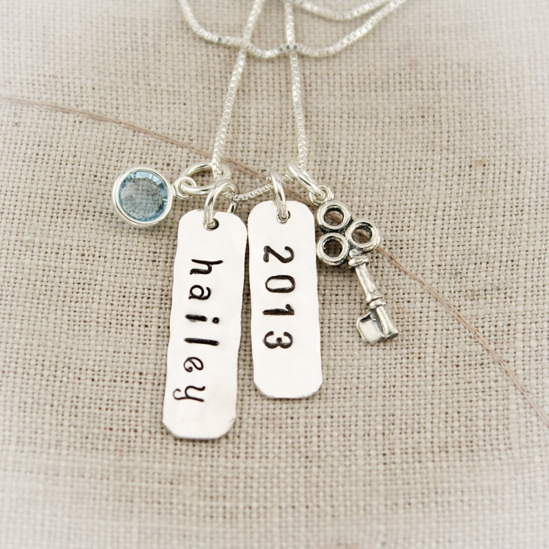 graduation charm necklace key to success with name year and