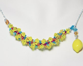 "Portal Inspired Yellow Citrine Swarovski Necklace Beadweaving Sterling Silver - ""Combustible Lemon"""