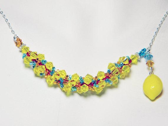 "Portal Inspired Yellow Citrine Swarovski Necklace Beadweaving Sterling Silver - ""Combustible Lemon"""