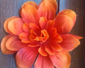 Orange Zenia Flower Hair Clip