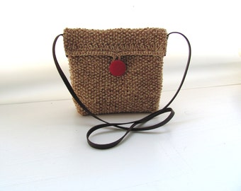 Red  button Sweet HipBag-- Cotton-  light Brown offwhite--Chrsitmas gift--under 35 USD