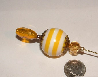 """HATPIN - 8"""" my own design - giant lucite striped bead it is vintage- long cut glass bead to match - collectible  OOAK"""