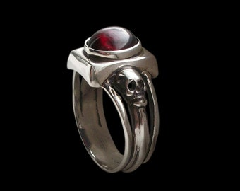 925 Solid Sterling Silver Dark Gothic Skull Engagement Ring with Red Garnet - Love to Death Ring -  ALL SIZES