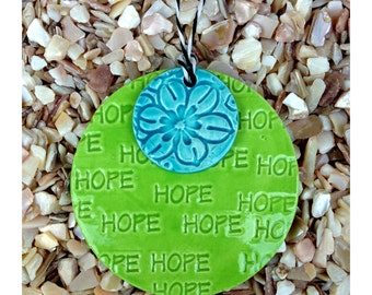 HOPE with a Flower Ceramic Sign