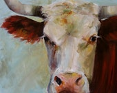 Reserved- Cow Painting Lucile -  giclee print of an original painting on canvas or paper