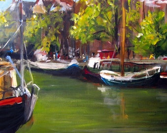 Amsterdam - Canvas Print of an Original Painting - gallery wrapped 12x30 inches - Click to see entire image