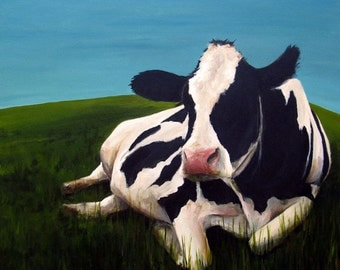 Cow Painting - Henrietta  - Canvas or Paper Print of an Original Acrylic Painting