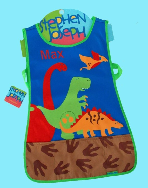 Pesonalized Child's Stephen Joseph Craft Apron DINO Themed Art Smock-Monogramming Included