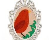 Bird Art -- Copper Bird Fiber Folk Art in Vintage Frame