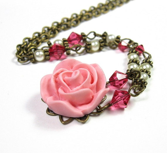Vintage Style Flower Necklace, Swarovski Crystals, Pink Resin Rose, Womens Accessories, Fashion Jewelry, Gifts for Her