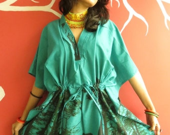 The tree of life - Teal short Kaftan Dress - Best gift for her, dressing gown, lounge wear, beach cover up, vintage fashion