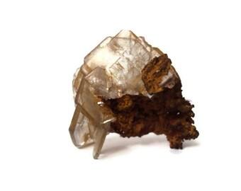 Barite Crystal on Dolomite, Gemstone Specimen, White Barite from Cerro Warihuyn, Miraflores, Peru, Collector's Cabinet Piece