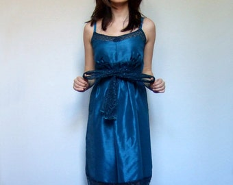 90s Teal Blue Party Dress Iridescent Satin Blue Lace Dress - Extra Small. Small. XS/ S