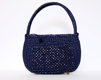 Navy Blue Purse Beaded Raffia Handbag Vintage 70s Small Woven Purse Bag
