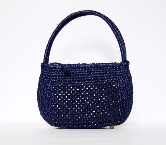 Navy Blue Purse Beaded Raffia Handbag Vintage 70s Small Woven Purse ...