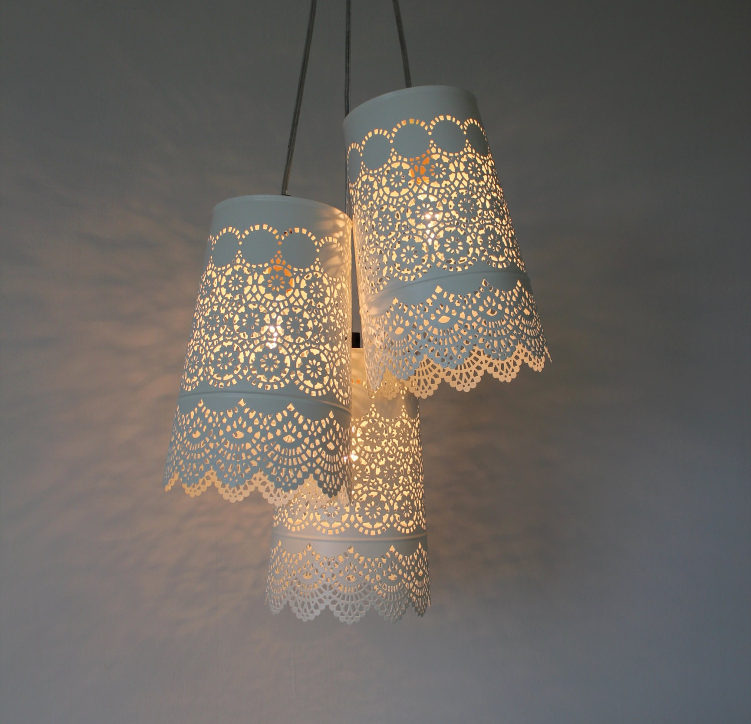 Handmade Light Fixtures baby's breath chandelier upcycled hanging pendant