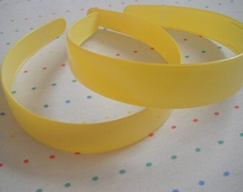 "Extra Wide Yellow Plastic Headbands, 1"" Wide (2)"