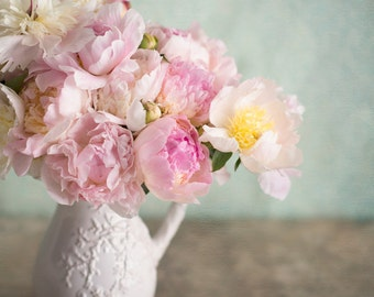 Peony Photography - French Peonies, Still Life Fine Art Photograph, Romantic Wall Decor