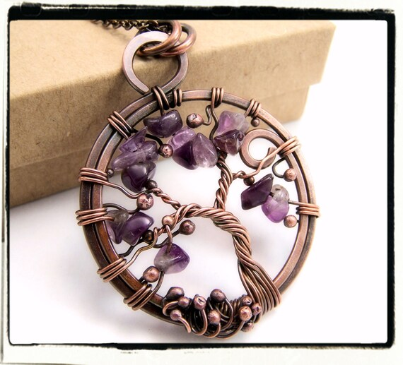 003 Purple Amethyst Sled Tree of Life Wire Wrapped Pendant Antique Copper