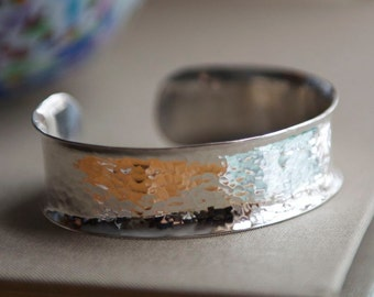 Hammered Sterling Silver Cuff, Handmade in Maine