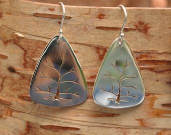 Sterling Silver, Tree of Life Earrings, Handmade in Maine