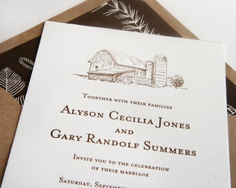 Letterpress Wedding Invitation Set - Barn