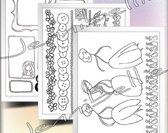 Colour Me In: Digital Collage Sheet Set by Jennibellie