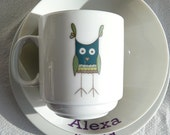 Wise Owl Personalized Plate Set - Valentines Gift for Kids Boys and Girls